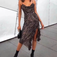 New dress explosion irregular oval leopard print dress
