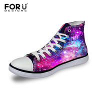Plus Size Women High Top Canvas Shoes Fashion Starry Night Galaxy Pattern Female Sport Breathable Shoes Casual Flats Shoes Mujer