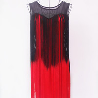 Free Shipping Women 1920S Art Deco Sequin Paisley Flapper Tassel Glam Party Dress