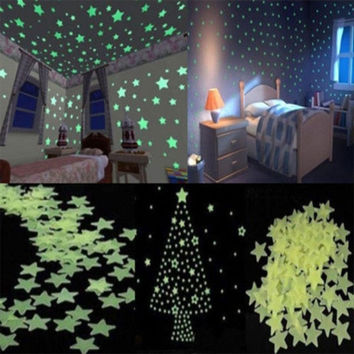 100x Home Wall Star Sticker Light Green Glow In The Dark Ceiling Decal Baby Room = 1946212164