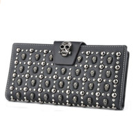 Women's Leather Wallet Skull Clutch