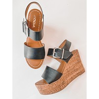Chantelle Wedge Sandals (Black)