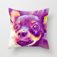 Lizzy (Chihuahua) Throw Pillow by Beth Thompson