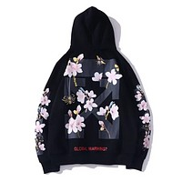 Off White New fashion arrow letter floral print couple hooded long sleeve sweater Black