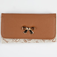 Bow Lace Overlay Wallet Cognac One Size For Women 24823840901