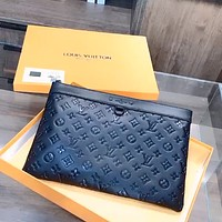 LV Louis Vuitton POCHETTE Embossed Letter Clutch Wash Bag