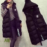 """Adidas"" Women Casual Fashion Letter Middle Long Section Cardigan Buttons Sleeveless Hooded Cotton-padded Vest Jacket Coat"
