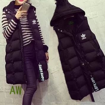 """""""Adidas"""" Women Casual Fashion Letter Middle Long Section Cardigan Buttons Sleeveless Hooded Cotton-padded Vest Jacket Coat"""