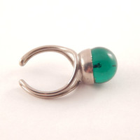 Green Glass 60s Style Adjustable Ring