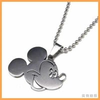 Stainless Steel Mickey Mouse Pendant Chain Necklace Jewelry