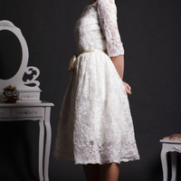 Vintage French Corded Lace Wedding Dress Elbow Quarter Lace Sleeves Knee Length Short Wedding Dress with Champagne Satin Sash