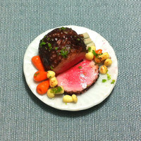 Roast Beef Joint Meat Miniature Clay Polymer Food Supply Mushrooms Carrots Cute Tiny Small Dish Plate Ceramic Dollhouse Jewelry Supplies