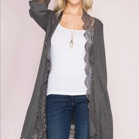 Lace Trim Cardigan - Grey
