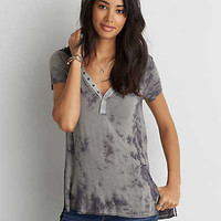AEO Soft & Sexy Snap Front Jegging T-Shirt , Gray