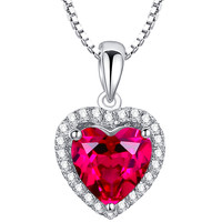 Sterling Silver Valentine Heart 4ct Ruby Pendant Necklace
