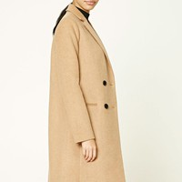 Double-Breasted Wool Blend Coat