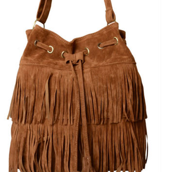 Faux Leather Fringed Cross-body Bag