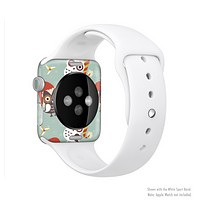 The Abstract Vintage Christmas Owls Full-Body Skin Set for the Apple Watch