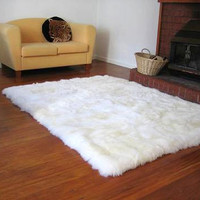 4' x 5'  Shaggy White Faux Fur Sheep Skin Accent Rug