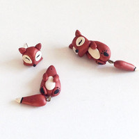 Peekaboo Earrings, Two Piece Fox Earrings, Polymer Clay Fox Earrings, Faux Gauge Earrings