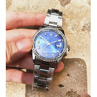 Rolex Fashion New Tide Brand Round Shell Diamond Women Men Watches Fashion Watches