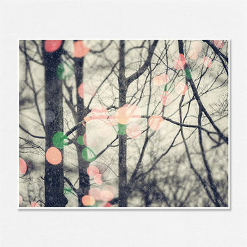 Winter Landscape, Snow Pictures, Christmas Lights, Pink, Green, Orange, Abstract, Surreal, 8x10, Dreamy Winter Landscape, Woodland Trees.
