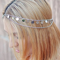 Nayna Jewelry - Silver Coin Egyptian Hair Jewelry Hair Chain Cleopatra Halloween Costume