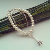 Charmed Imitation Pearl Bracelet - Kitsch, Silver plated chain, extendible - 5 styles available