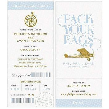 Vintage Travel Boarding Pass Style Invitation With RSVP Daiquiri Green (Pack of 1)