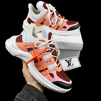 inseva LV Shoes Louis Vuitton Sneakers White Orange Pink Women Sports Shoes
