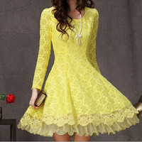Slim Lace Long-sleeved Print Dress ..