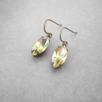 Light Yellow Earrings Jonquil Sparkly Rhinestone Navette Marquise Everyday Jewelry Art Deco Glam Anniversary Gift For Women Simple Dangle