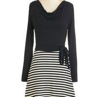 ModCloth Mid-length Long Sleeve A-line Spin the Zone Dress