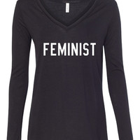 This Is What A FEMINIST Looks Like, Women Pride Female Activist President Election Campaign Support, Long Sleeve Flowy V-Neck T Shirt, Lady