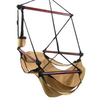 Tan Hanging Adjustable Hammock Chair Swing With Pillow Footrest And Drink Holder