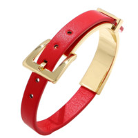 Designer Luxury Fashion Trendy Red Women Leather Bracelet
