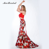 MicBridal Red Lace 2 Piece Prom Dresses 2016 Abiye Gece Elbisesi MX-133 Real Photo Printing Flower Mermaid  Prom Dress 2016