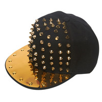 Metal Plate Studded Snapback | Wet Seal