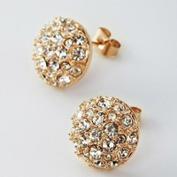 Champagne Austrian Crystal Earrings Studs for Women  Availability: In stock