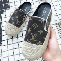 Louis vuitton printed casual slouchy women's slippers sandals flats