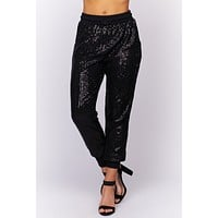 Got Your Attention Sequin Joggers (Black)