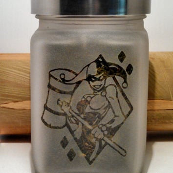Smashing Harley Quinn Stash Jar - Etched Glass- Free UPGRADE to Priority Shipping within the US