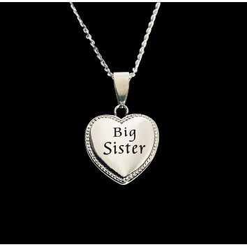 """Big Sister Heart Charm Necklace 20mm 3/4"""" Diameter"""