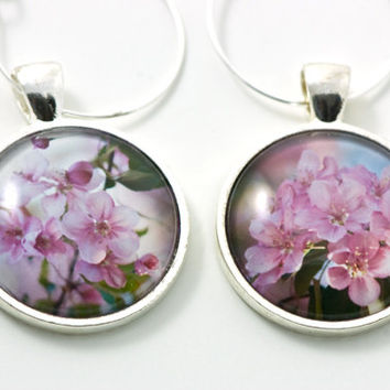 Floral Wine Charm Gift Set Fine Art Photography Set Cocktail Drinks Stainless Steel Gifts for Him Wine Enthusiast Gift