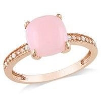 10k Rose Gold Pink Opal and Diamond Ring, (0.03 Cttw, G-H Color, I1-I2 Clarity), Size 7