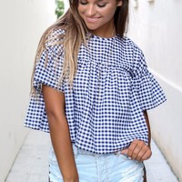 Check Her Out Navy Gingham Top