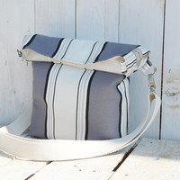 canvas tote stripes shopping bag modern everyday bag grey and white spring - summer fold over bag