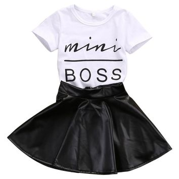 Mini Boss Print Tees+Leather Skirt Trendy Toddler Girl Clothes