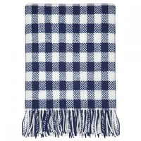 Gingham Check Blue Throw Blanket | 100% Pure New Wool