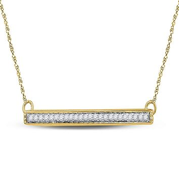 10k Yellow Gold Round Diamond Horizontal Bar Pendant Necklace 1/10 Cttw